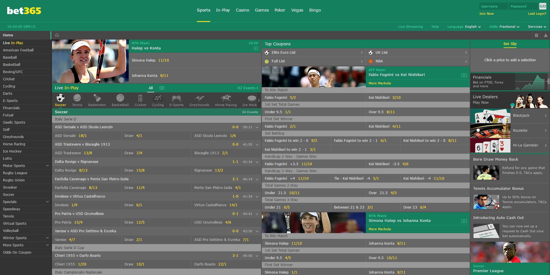 Официальный сайт букмекерской конторы bet365
