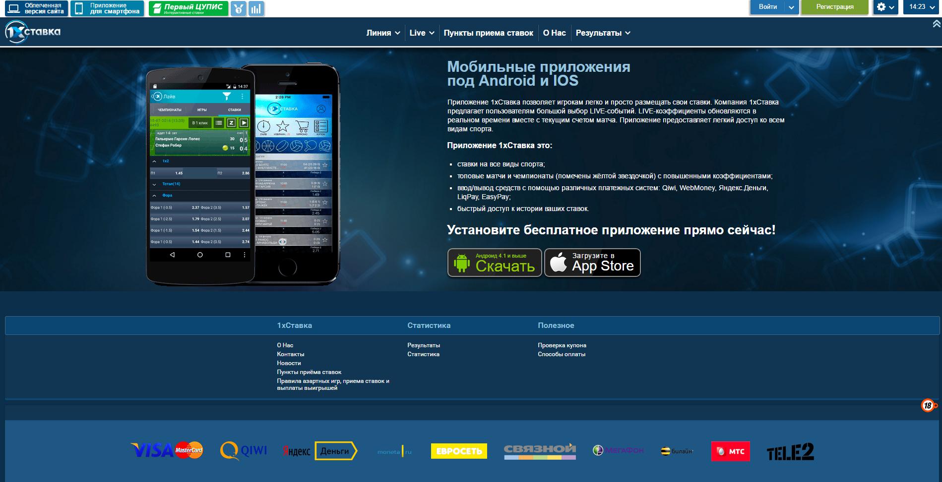 Мобильная версия и приложение букмекерской конторы 1хСтавка